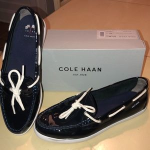 Cole Haan Navy Patent Leather Boating Shoe